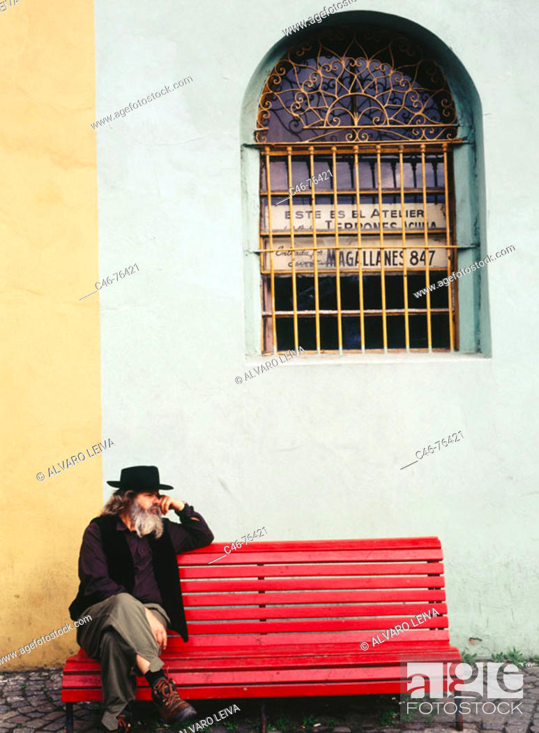 Stock Photo: Man at Caminito Street in La Boca district, Buenos Aires. Argentina.