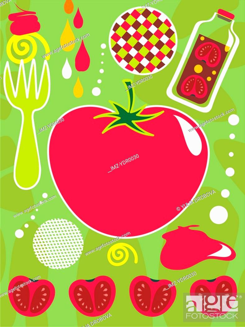 Stock Photo: An illustration about tomatoes and ketchup.