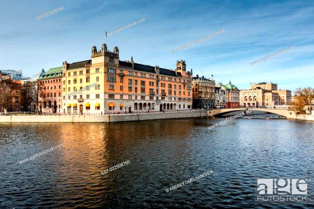 Stock Photo: Stromgatan Embankment and Royal Opera in Stockholm, Sweden.