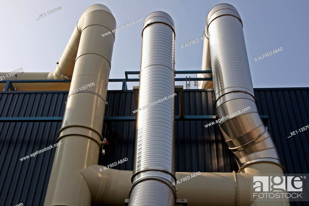 Stock Photo: pipes, Recycling Center, Mataro, Catalonia, Spain.