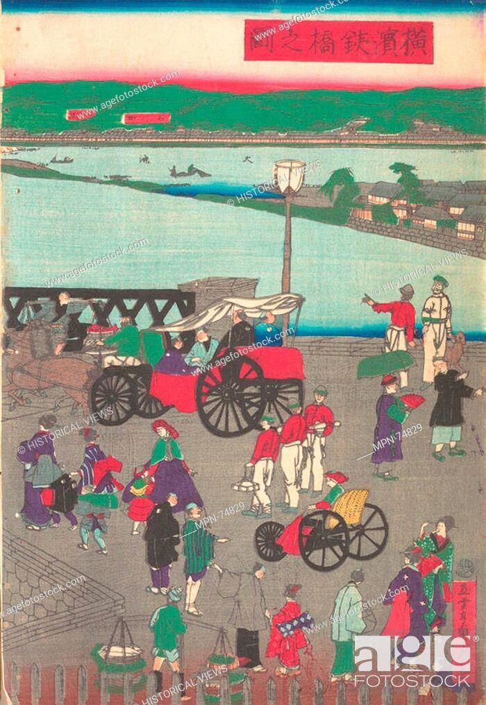 Stock Photo: The Steel Bridge at Yokohama. Artist: Utagawa (Gountei) Sadahide (Japanese, 1807-1878/79); Period: Meiji period (1868-1912); Date: 7th-10th month.