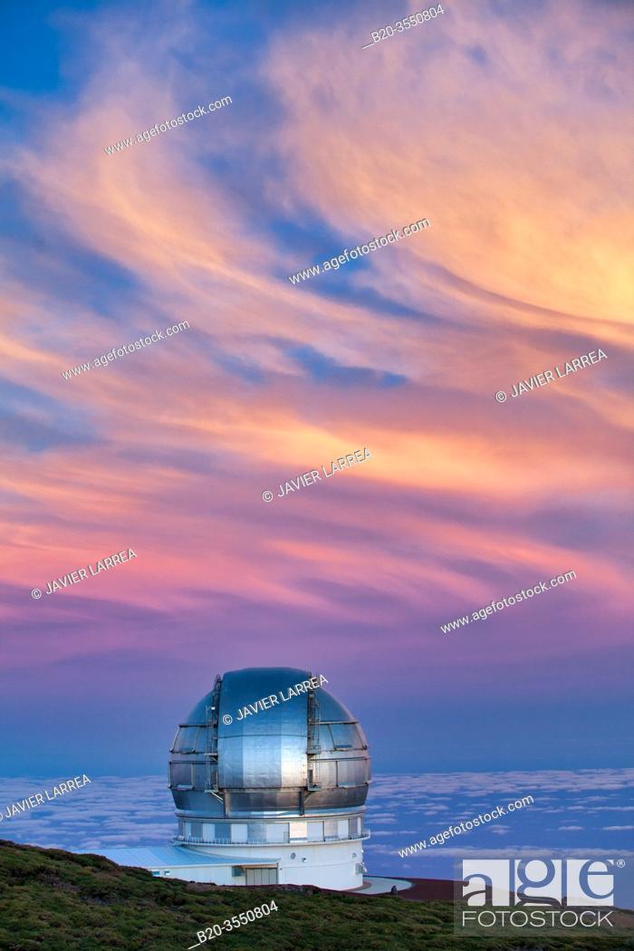 Stock Photo: The Gran Telescopio CANARIAS (GTC), Roque de los Muchachos Observatory, Caldera de Taburiente National Park, La Palma, Canary Islands, Spain.