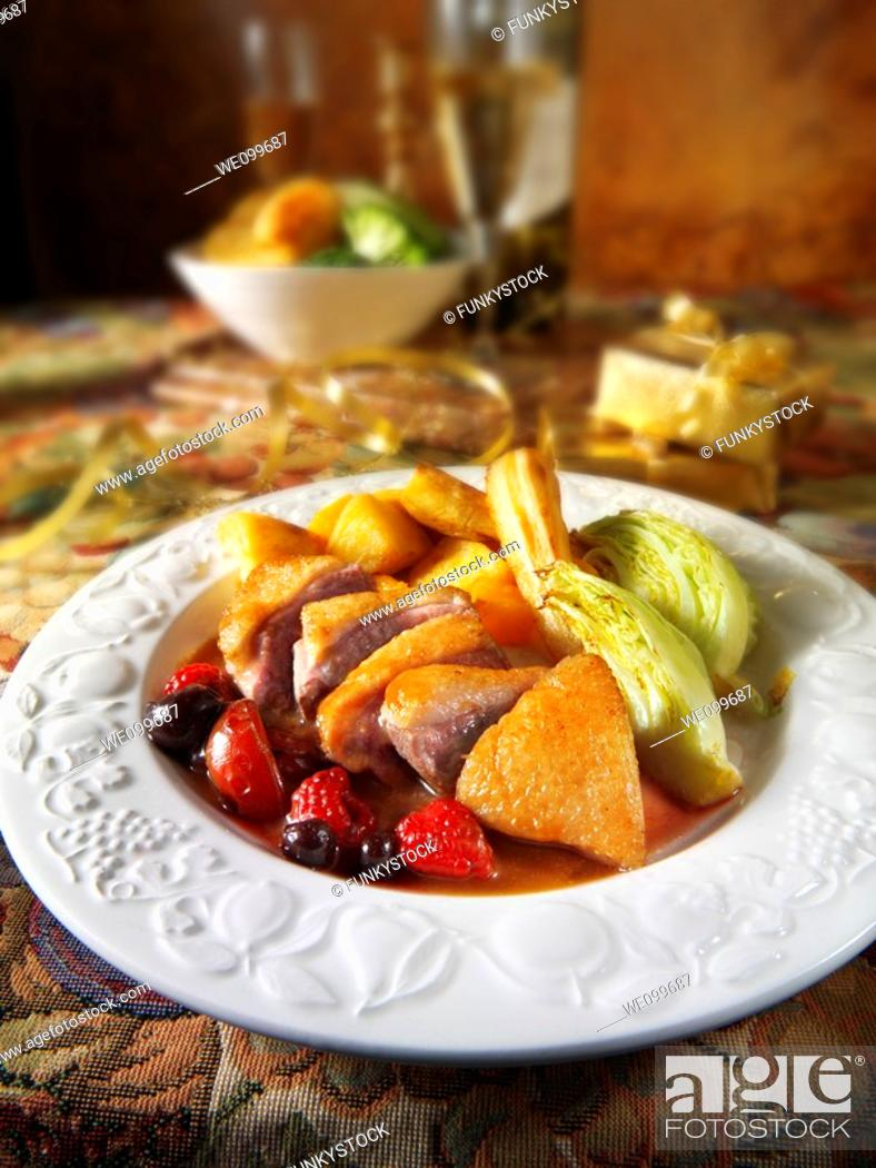 Stock Photo: Traditional roast Gresham duck dinner.