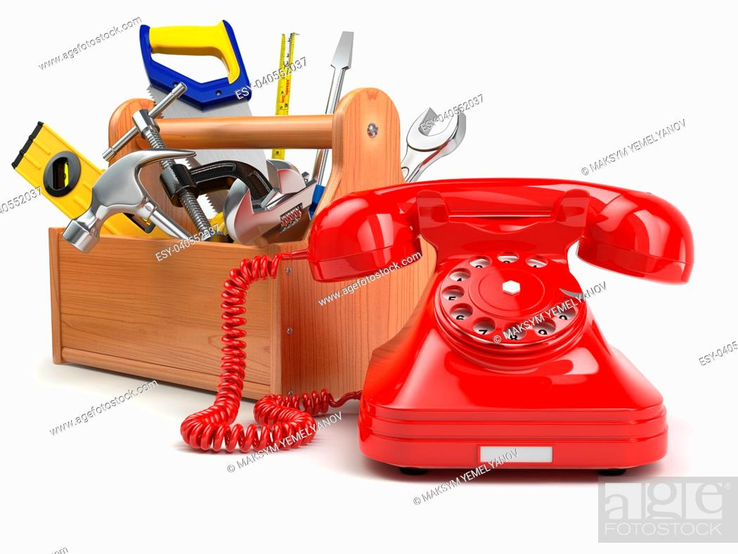 Stock Photo: Support or service concept. Toolbox with telephone on white isolated background. 3d.