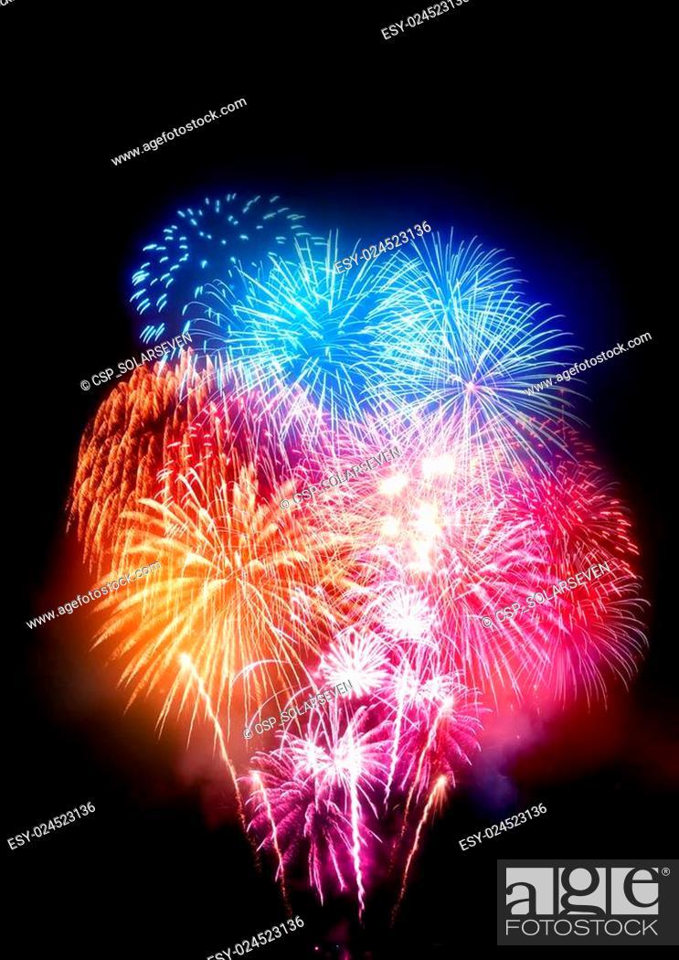 Stock Photo: Large Professional Fireworks Display.