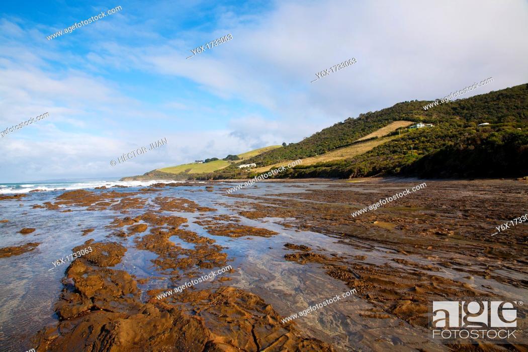Stock Photo: Wye River rock beach view.
