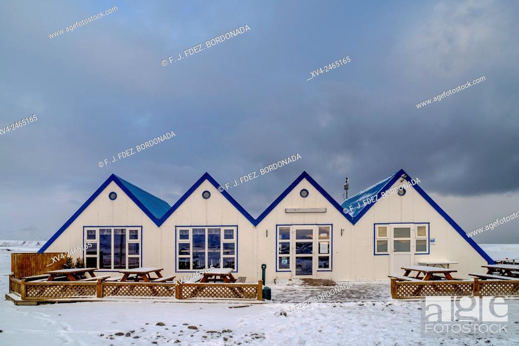 Stock Photo: Jokulsarlon lagoon tourist information center, Iceland.