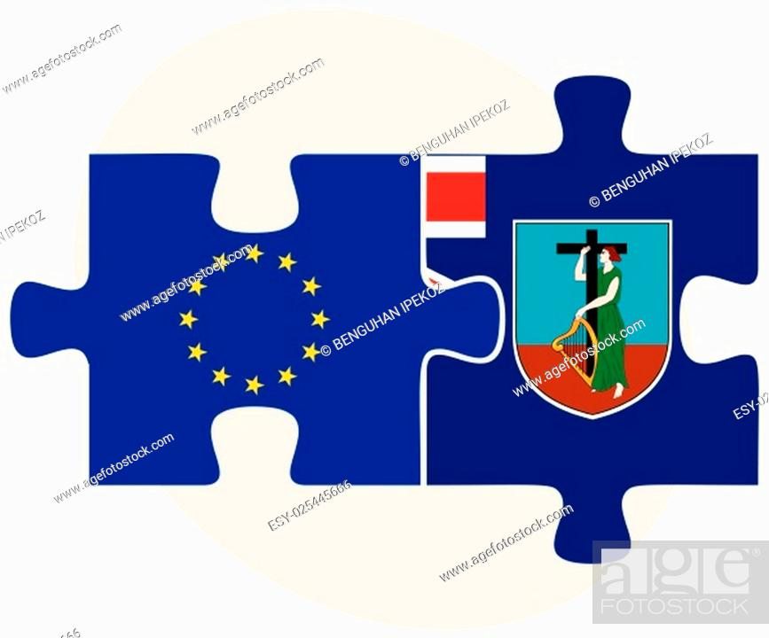 Stock Vector: European Union and Montserrat Flags in puzzle isolated on white background.