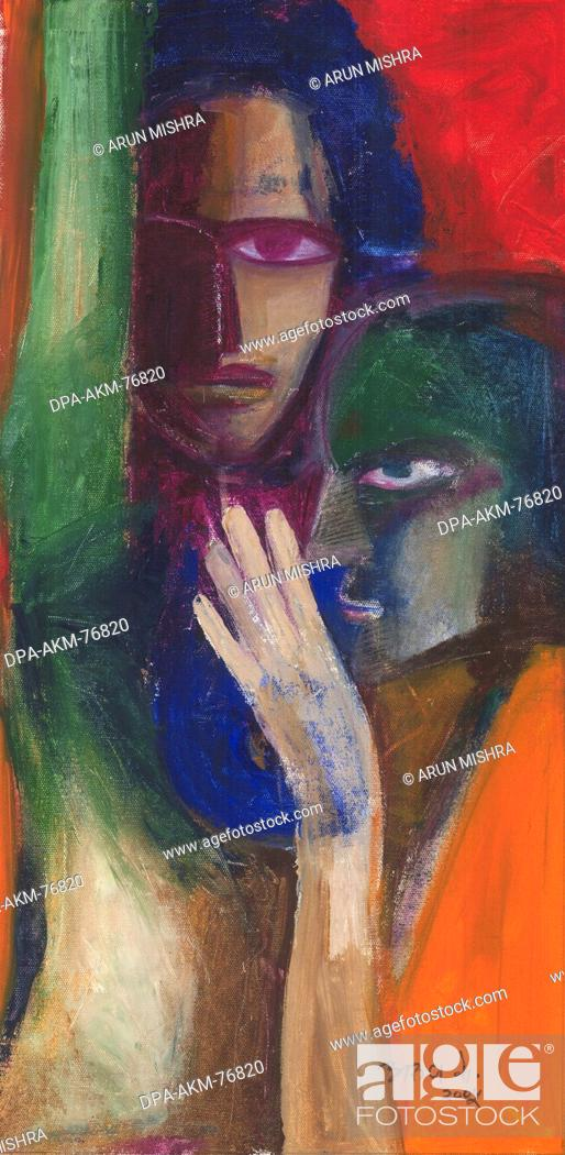 Painting Medium Acrylic color on canvas title two woman in