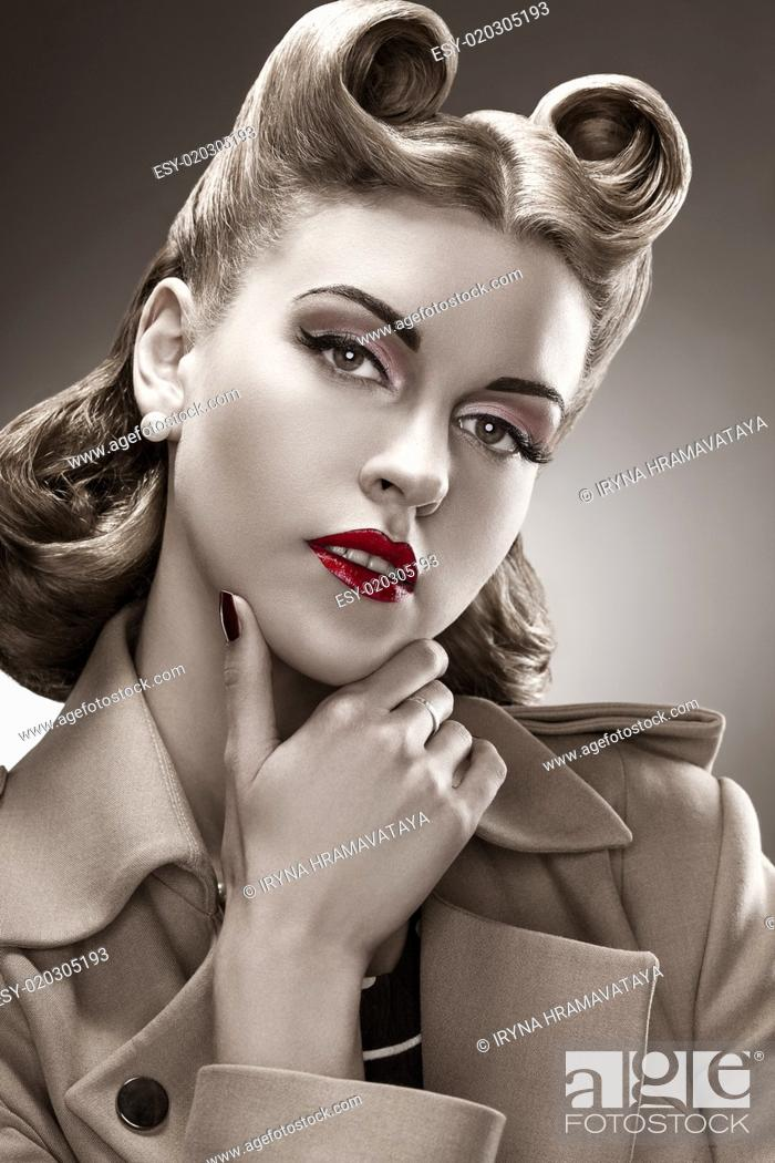 Stock Photo: Retro Style. B&W Portrait. Styled Woman with Pin-up Hairdo.
