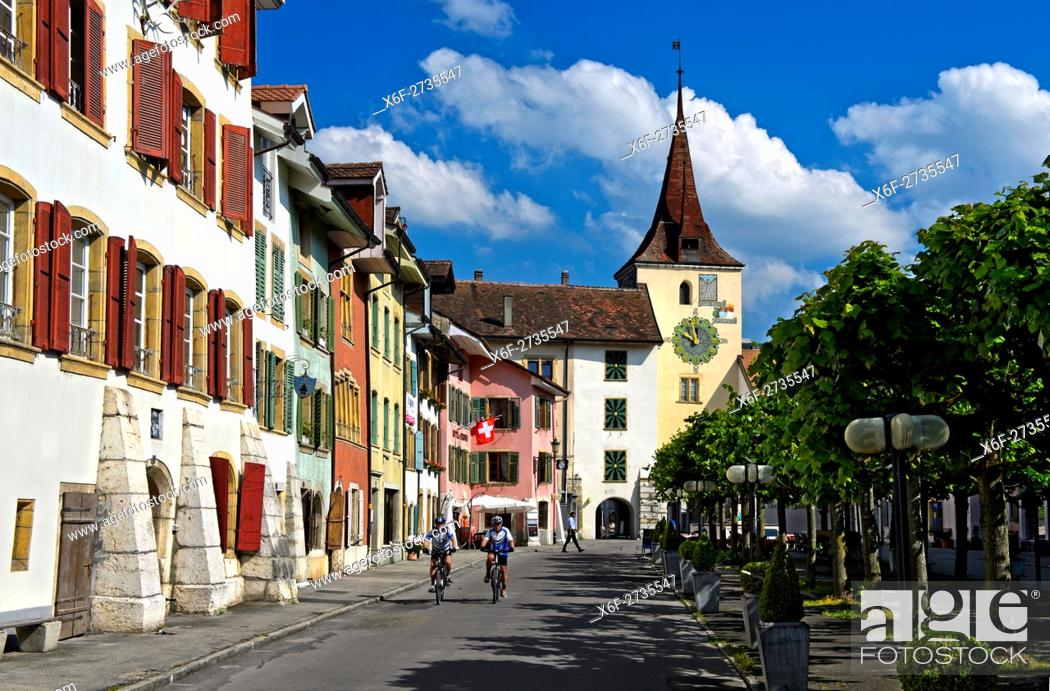 Stock Photo: Main sqaure, bourg, with clocktower Gate in the old town of Le Landeron, Swiss Heritage Site, canton of Neuchâtel, Switzerland.