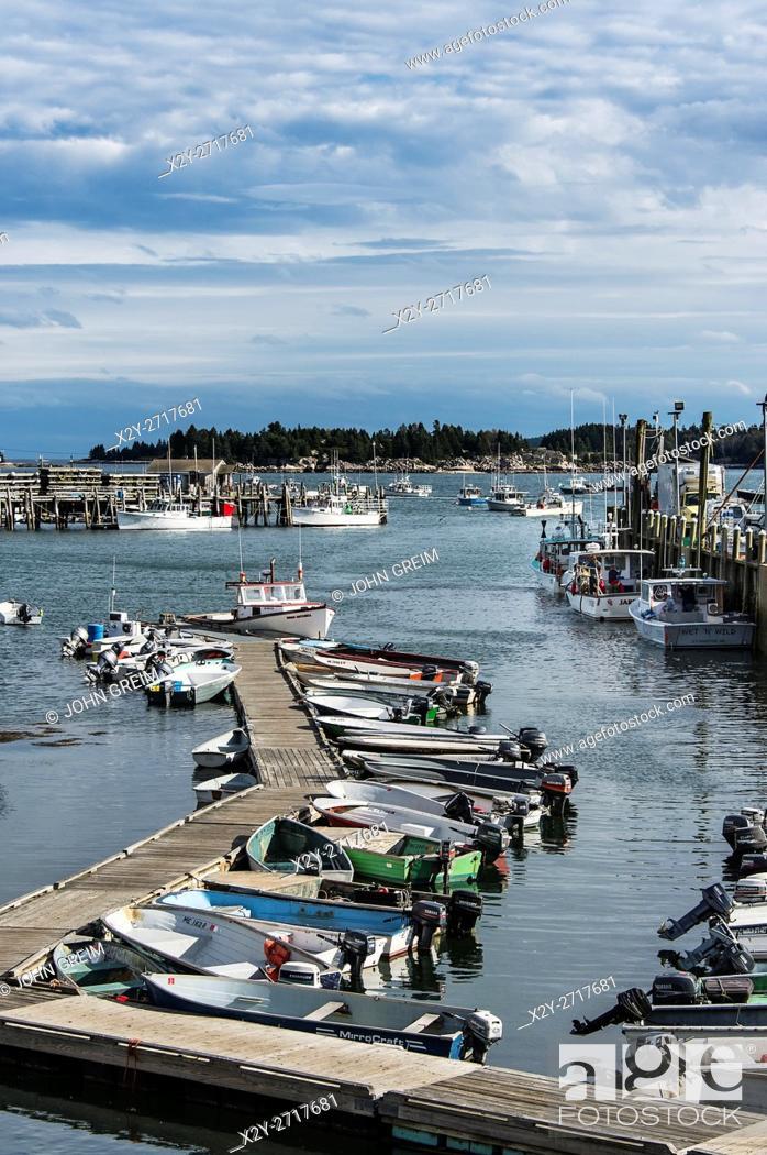 Stock Photo: Fishing boats docked in harbor, Stonington, Deer Isle, Maine, USA.