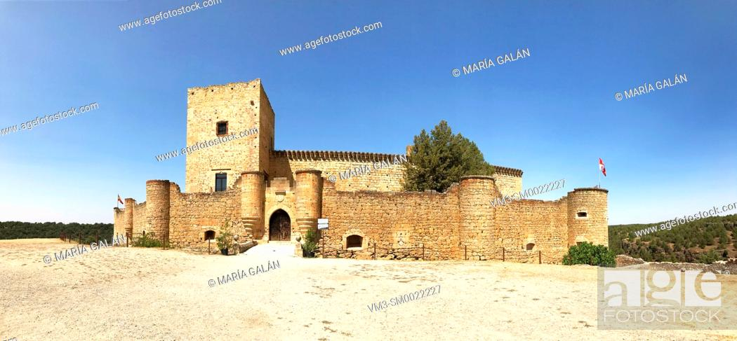 Stock Photo: Medieval castle, panoramic view. Pedraza, Segovia province, Castilla Leon, Spain.