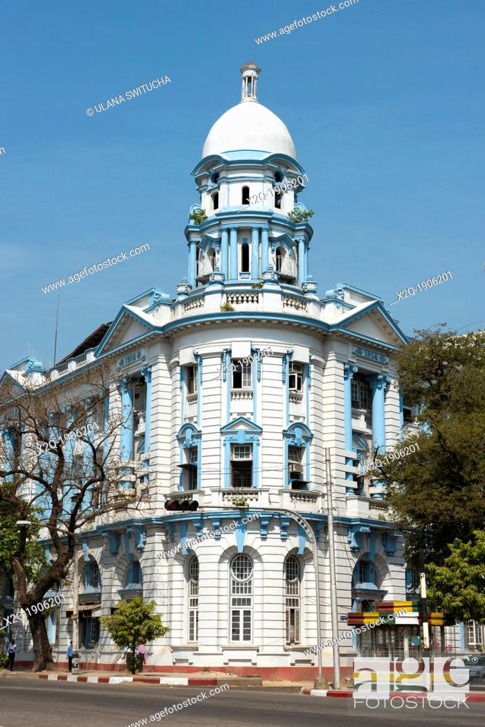 Stock Photo: An old colonial building which was the former Central Bank building along Strand Road Myanmar Yangon.