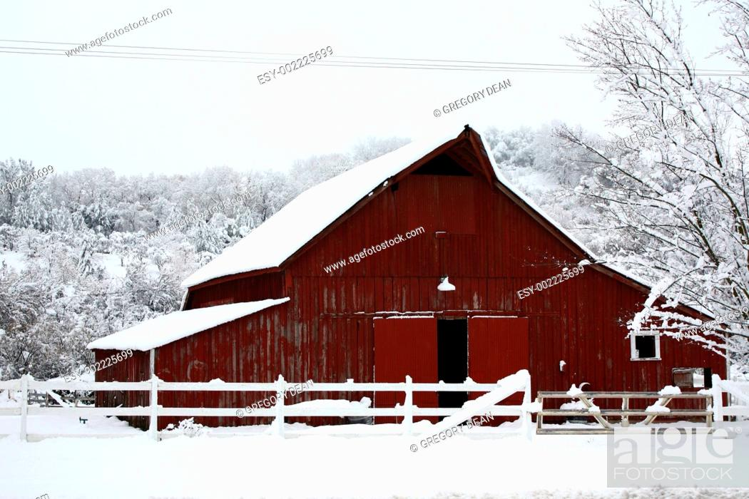Stock Photo: Big red barn in the snow.