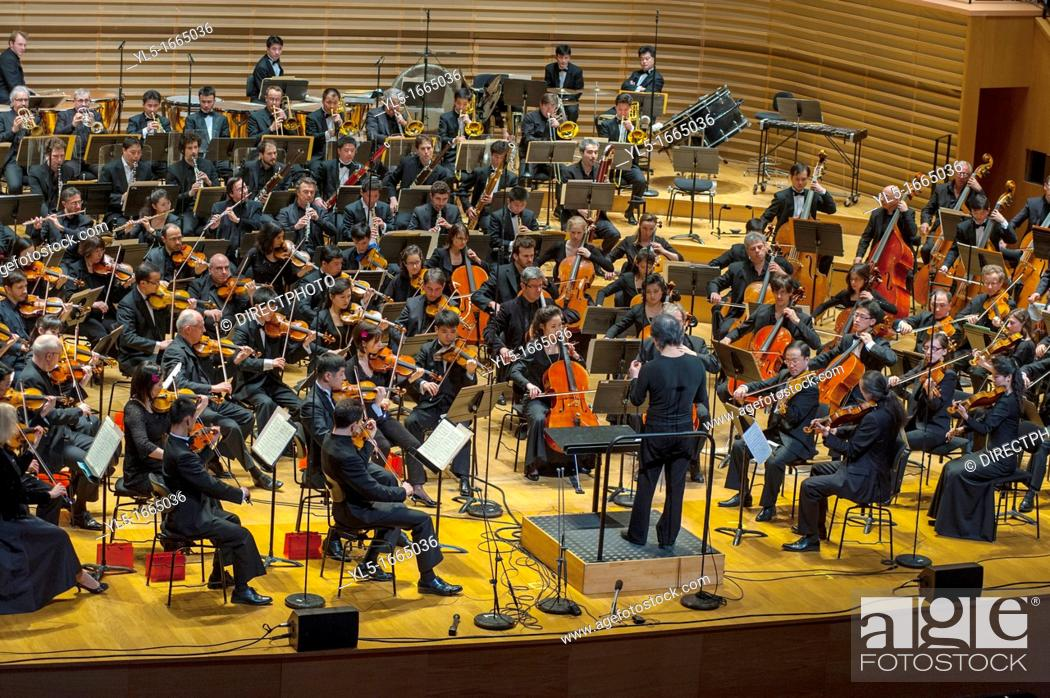 Stock Photo: Paris, France, North Korean Symphony Orchestra 'the Unhasu Orchestra' together with 'Radio France Philharmonic Orchestra' Perform First Concert in Europe.
