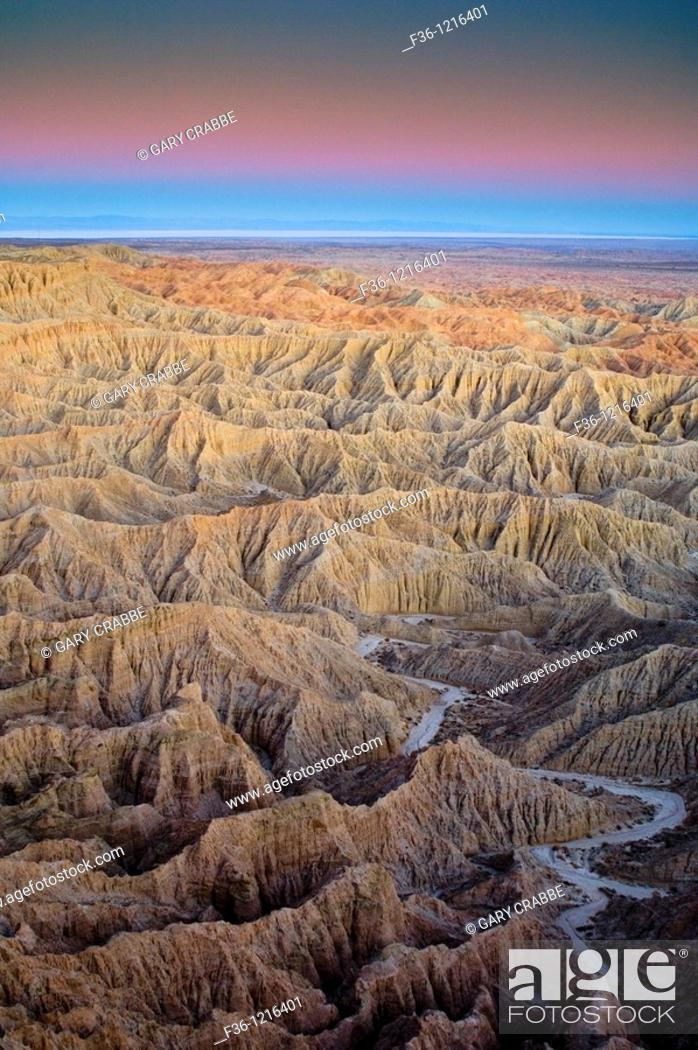 Stock Photo: Evening light over eroded hills at the Borrego Badlands, from Fonts Point, Anza Borrego Desert State Park, San Diego County, California.
