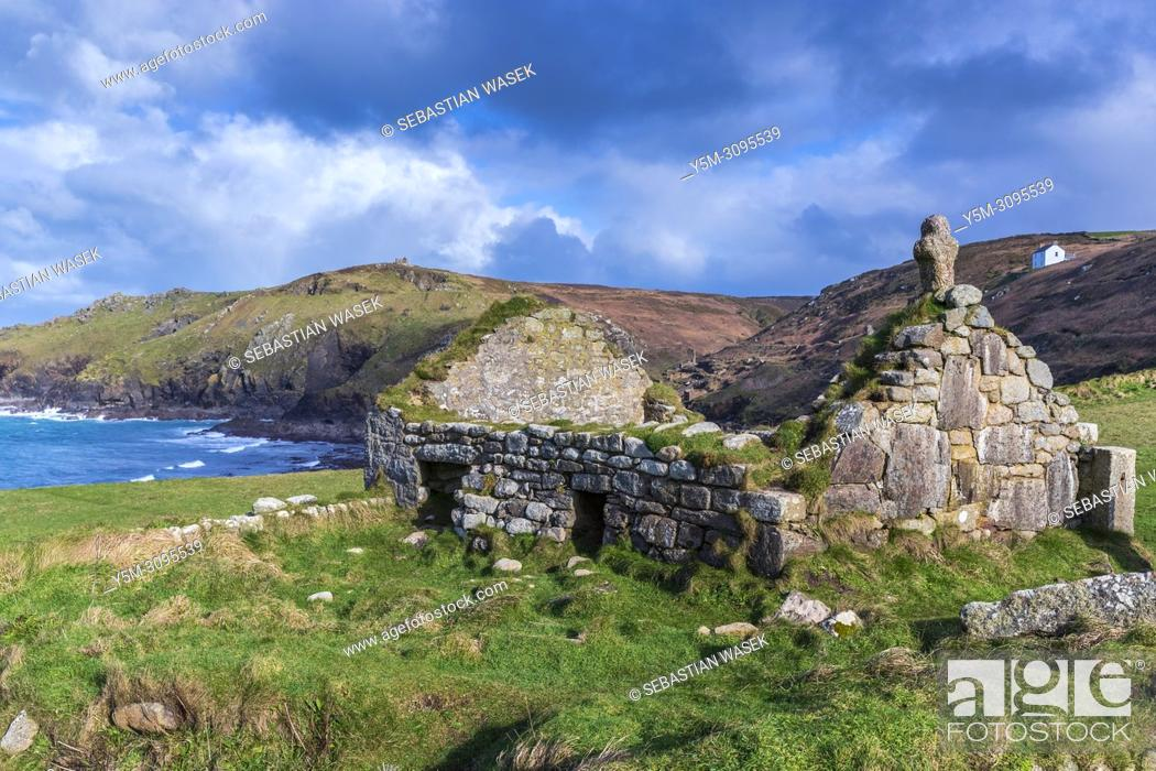 Stock Photo: The ruins of St. Helens Oratory at Cape Cornwall, St. Just, Cornwall, England, United Kingdom, Europe.