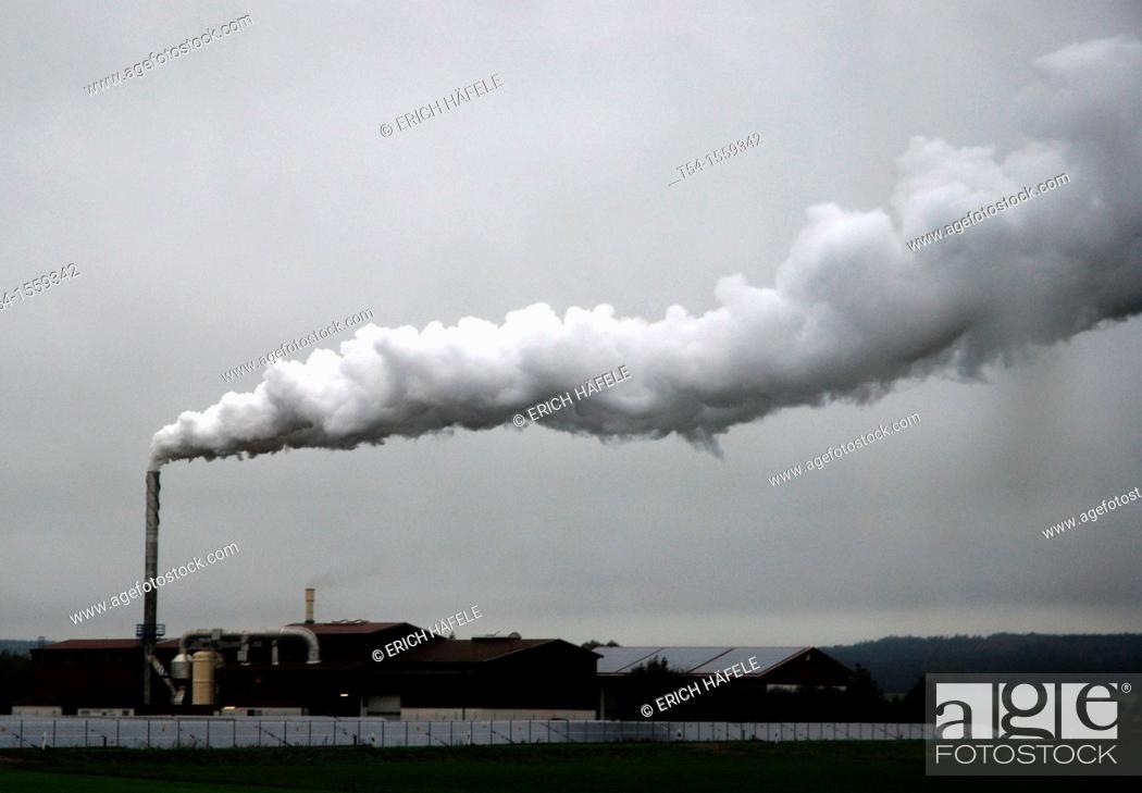 Stock Photo: Vapor cloud of a food dryer from rain sky.