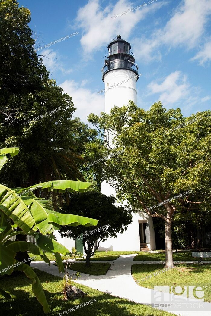 Stock Photo: Low angle view of a lighthouse, Key West Lighthouse, Key West, Florida, USA.