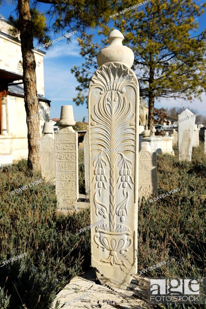 Stock Photo: Mevlana Museum, city of Konya, Turkey. Ornate white grave slabs mark the Sufi reed flute and ney players whirling dervish tombs.
