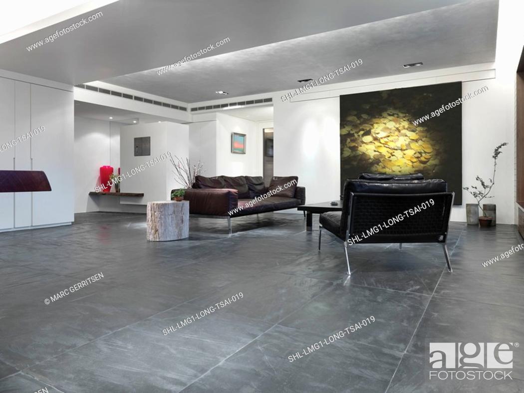 Stock Photo: Slate tile floor in modern living room.