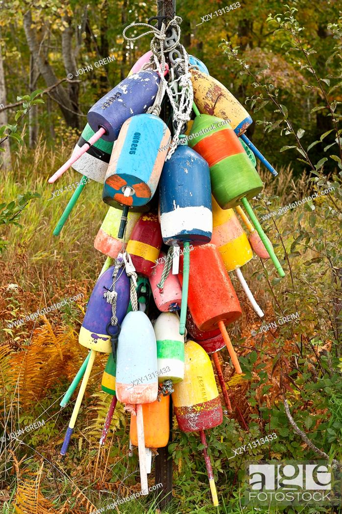 Stock Photo: Lobster buoys, Owls Head, Maine, USA.