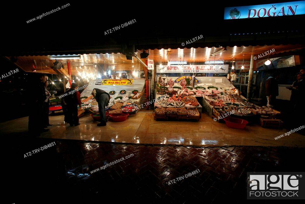 Stock Photo: FISH MARKET STALL KUMKAPI; KUMKAPI, ISTANBUL, TURKEY; 11/02/2007.