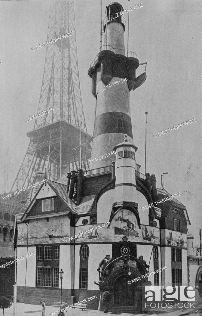 Stock Photo: German Pavilion, Bremen Lighthouse, Eiffel Tower behind, Universal Exhibition 1900 in Paris, Picture from the French weekly newspaper l'Illustration.
