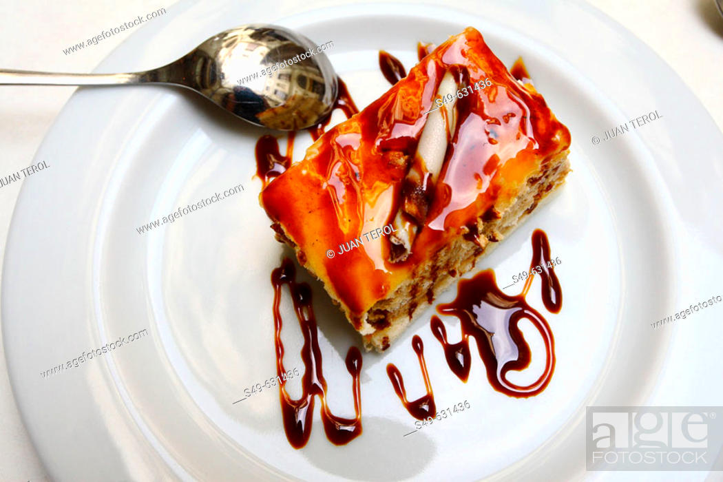 Stock Photo: Piece of cake on white dish.