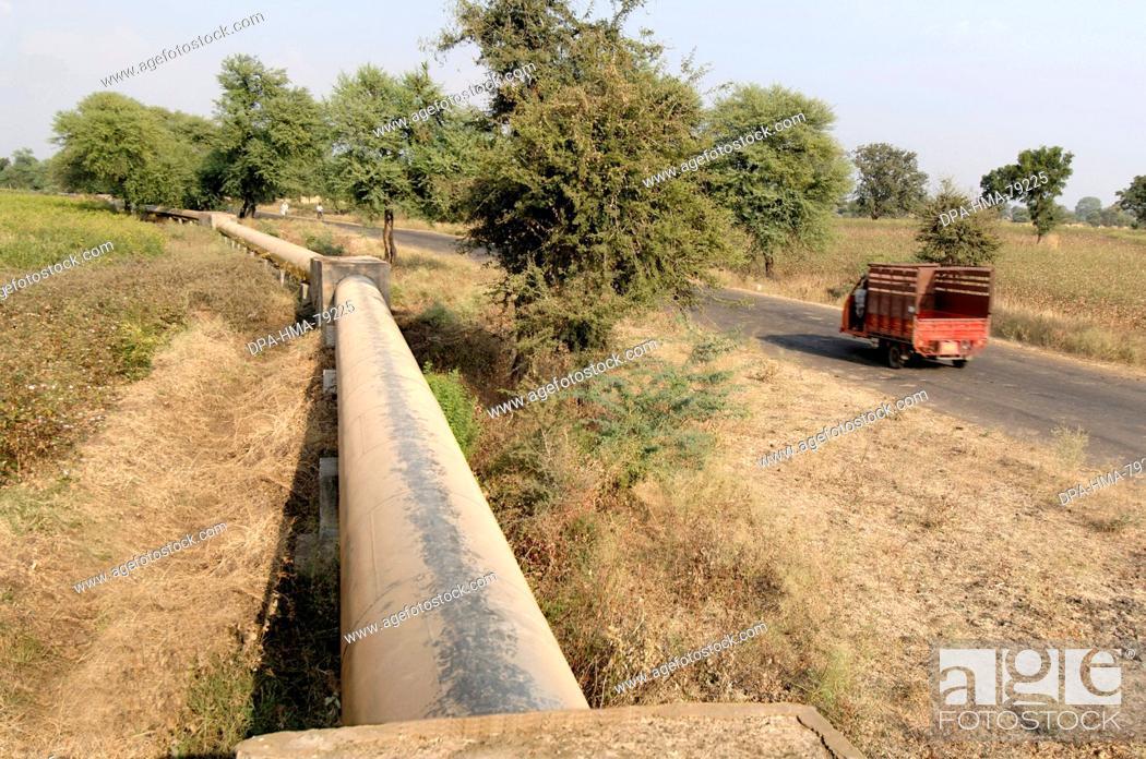 Stock Photo: Water pipeline through village , Akola , Akot , Maharashtra , India.
