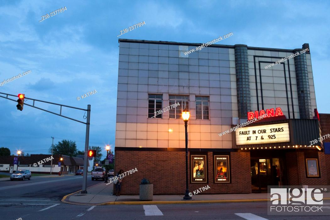 Stock Photo: Diana Movie Theater at twilight, Tipton, Indiana, IN, USA.