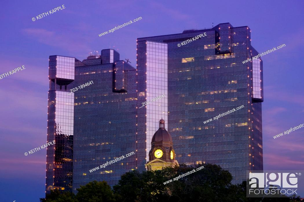 Stock Photo: Fort Worth Skyline and buildings at dusk, Downtown Fort Worth, Texas, USA.