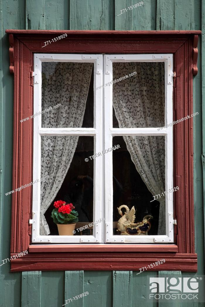 Stock Photo: Traditional window, Folk Museum, Oslo, Norway.