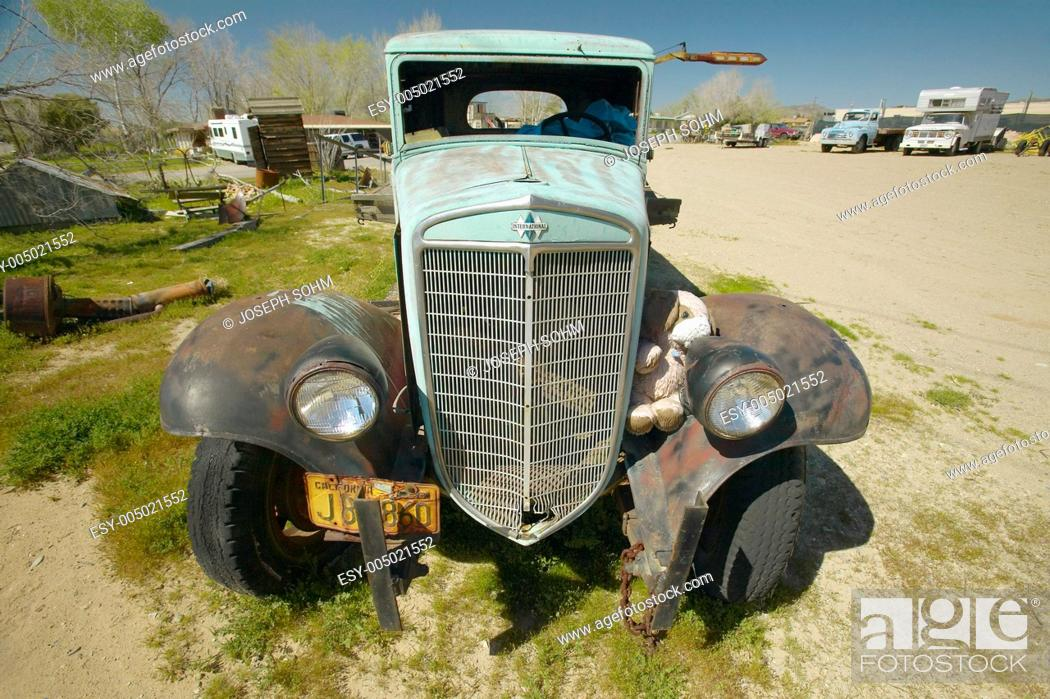 Stock Photo: An antique abandoned truck on the roadside near Barstow, CA off of Route 59.