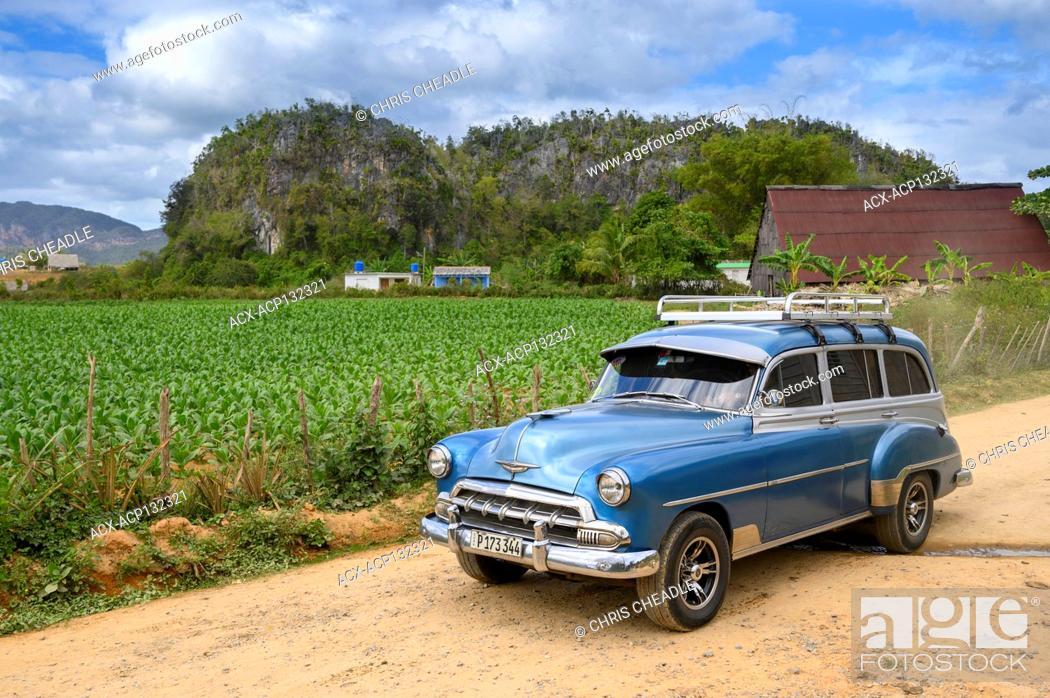 Stock Photo: Vintage chevrolet wagon, Vinales, Pinar del Rio Province, Cuba.