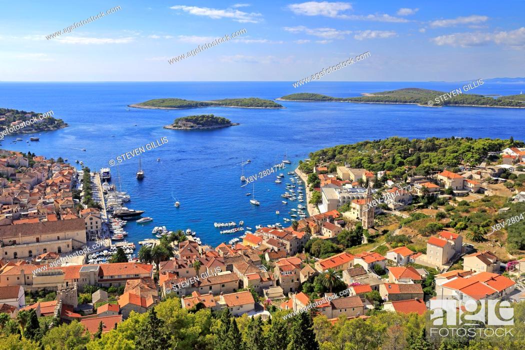 Stock Photo: Harbour and the Pakleni Islands from the Spanish Fortress, Hvar Town, Croatia, Dalmatia, Dalmatian Coast, Europe.