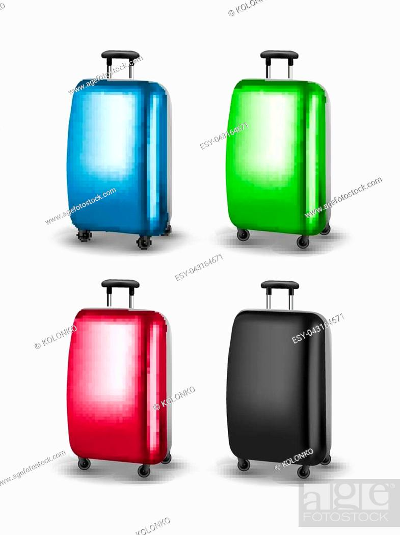 Stock Vector: Vector traveler suitcases. Baggage for journey tourism. Suitcase for vacation.