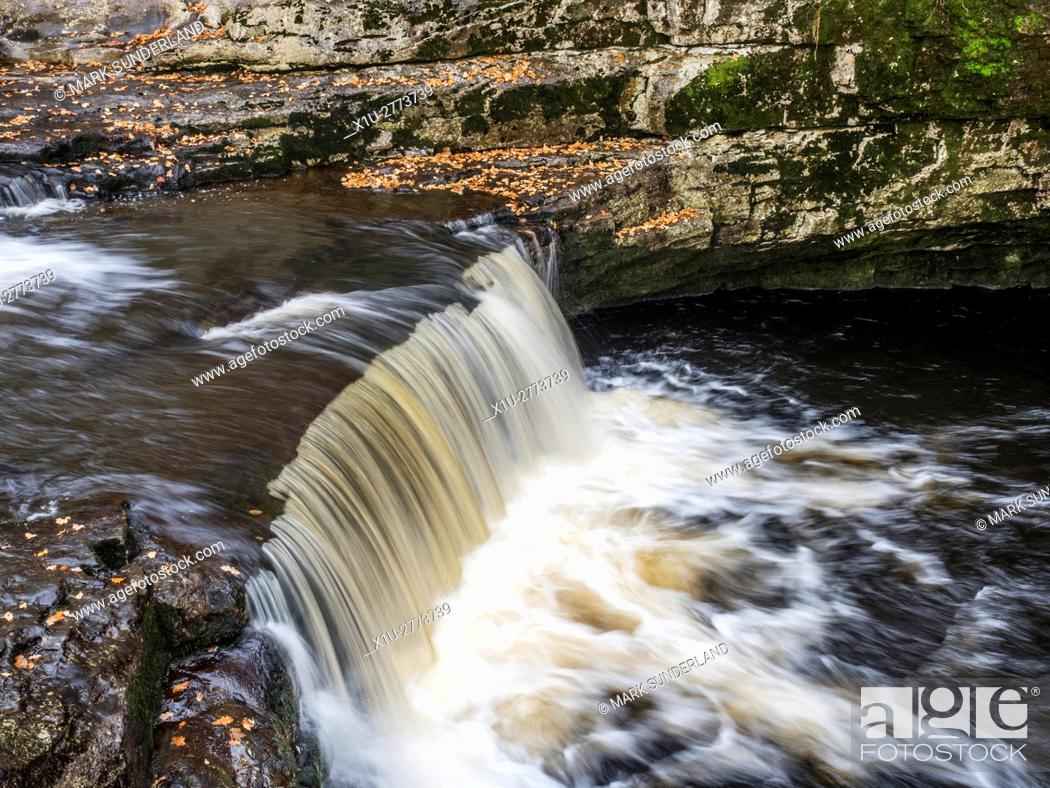 Imagen: Stainforth Force or Stainforth Foss on the River Ribble in Autumn Stainforth Ribblesdale Yorkshire Dales England.