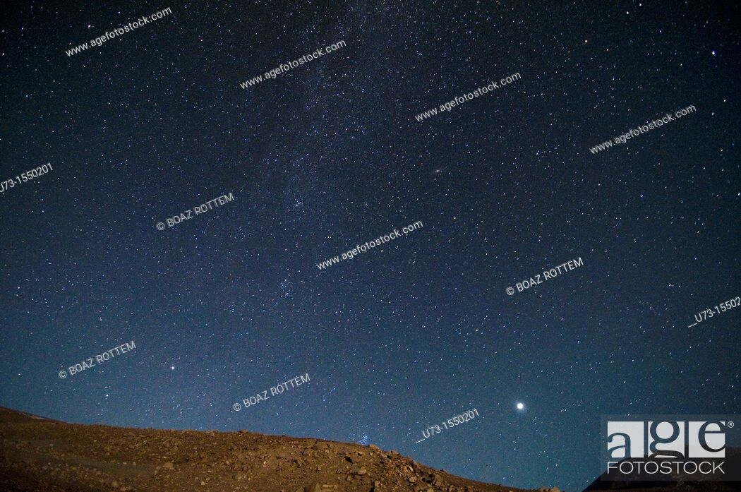 Stock Photo: A clear night over the Altai mountains in western Mongolia.