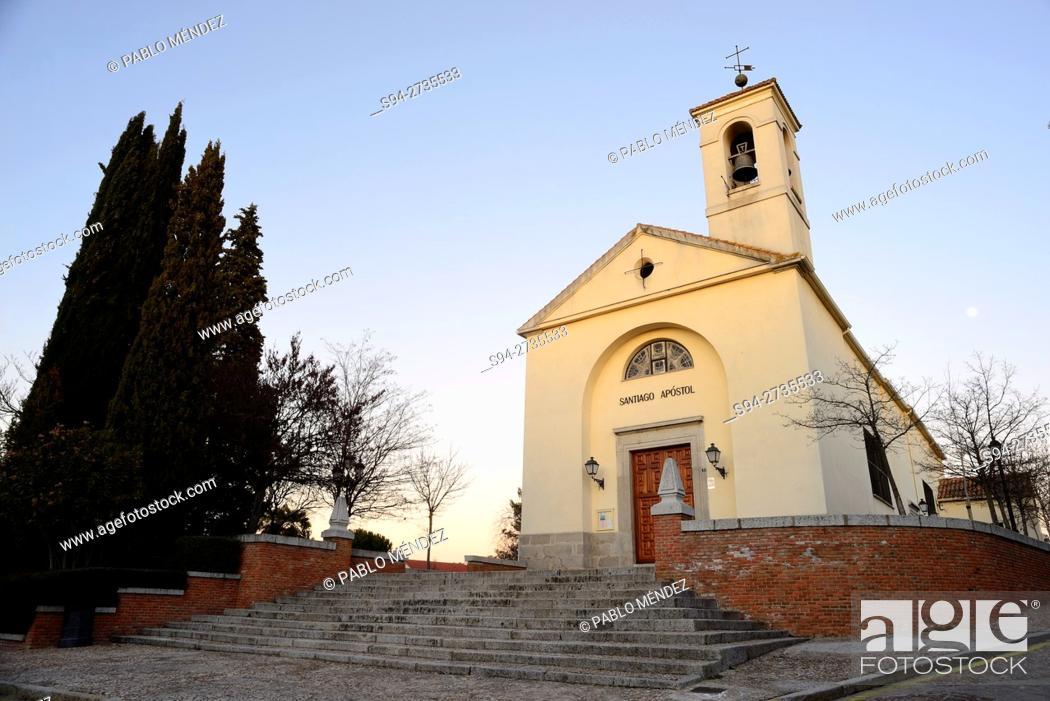 Stock Photo: Church of Santiago Apostol in Villaviciosa de Odon, Madrid, Spain.