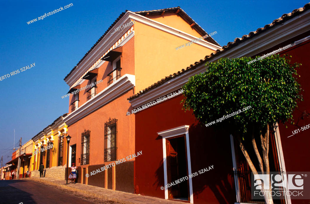 Stock Photo: Comitán de Domínguez houses. Founded in 1528. Mexico.