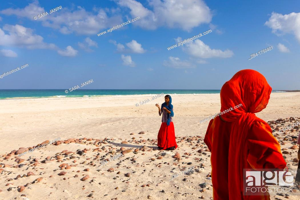 Stock Photo: Village girls on Amek beach, south coast, Socotra island, listed as World Heritage by UNESCO, Aden Governorate, Yemen, Arabia, West Asia.
