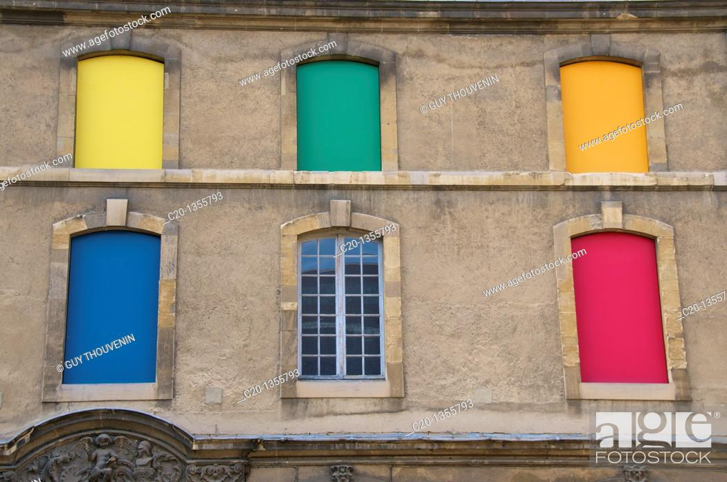 Stock Photo: Colored windows  detail  Beaux Arts Museum Reims Marne 51 France.