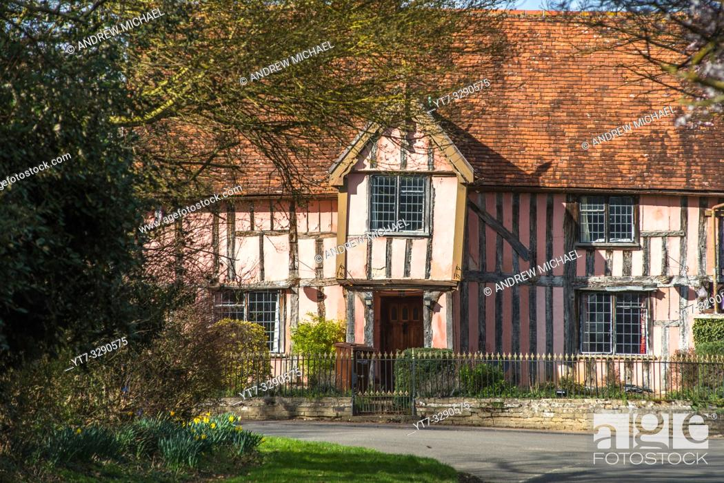Stock Photo: Nether Hall, a half-timbered building in the village of Cavendish, Suffolk, England UK.
