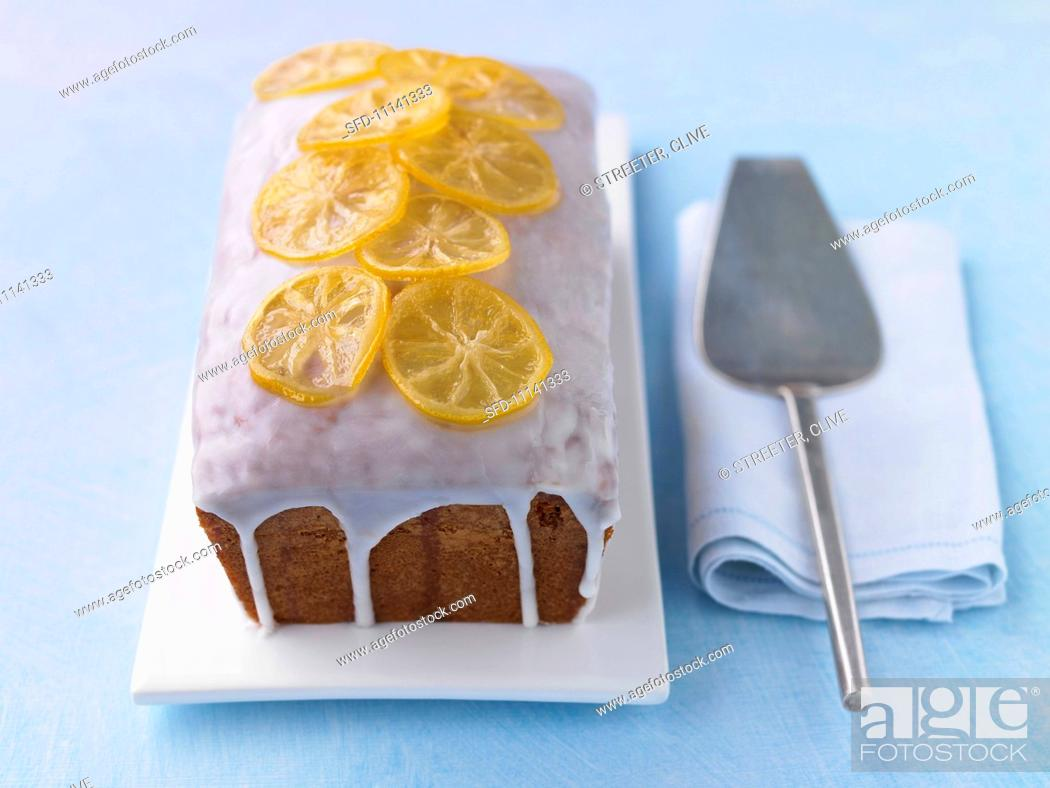 Stock Photo: Lemon cake with icing.
