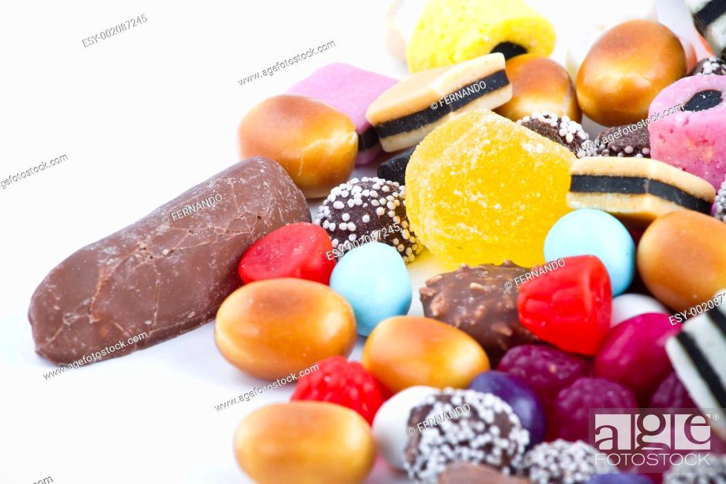 Stock Photo: Many candy on white background.Fruit snacks.