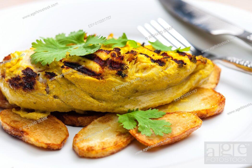 Stock Photo: chicken meat inyoghurt marinadee.