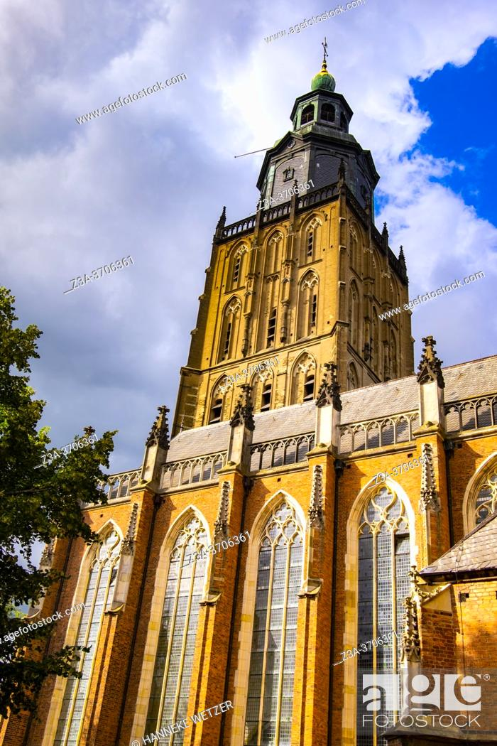 Stock Photo: The Saint Walburgis Church in Zutphen, Gelderland, The Netherlands, Europe.