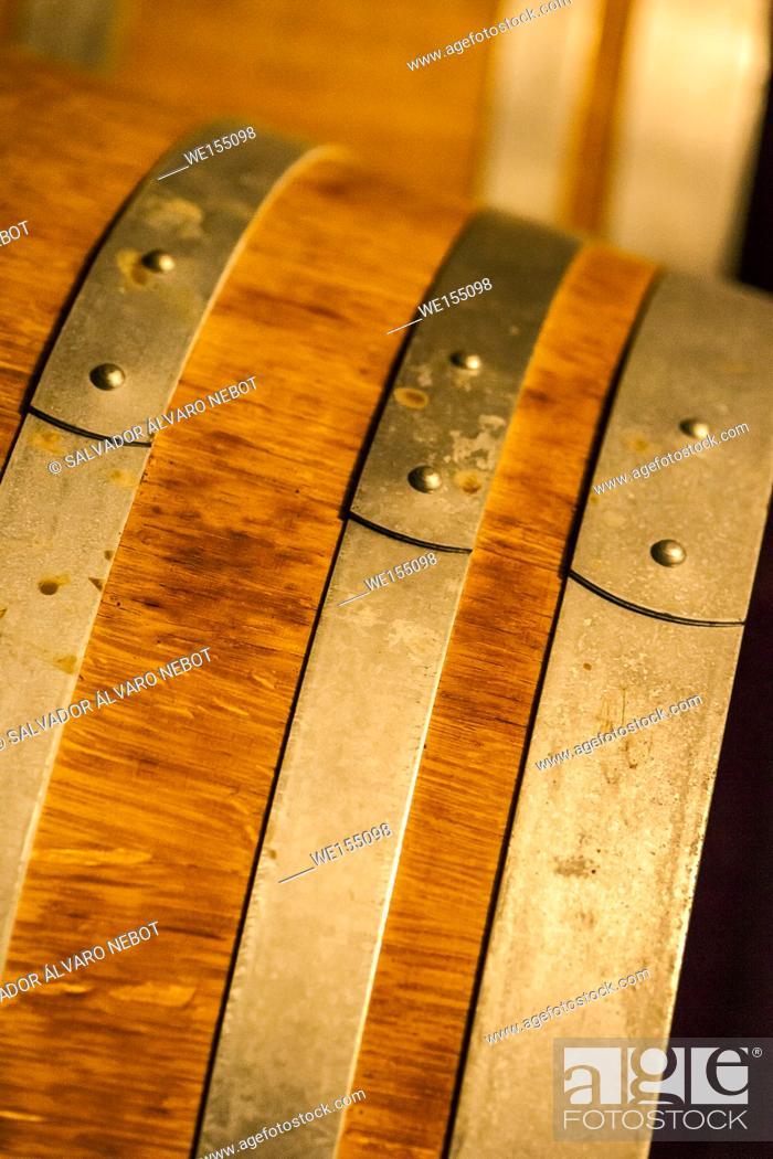 Stock Photo: Oak barrel detail.